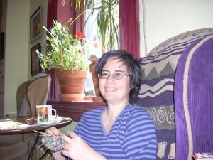 Me, knitting, mocha, favorite chair.
