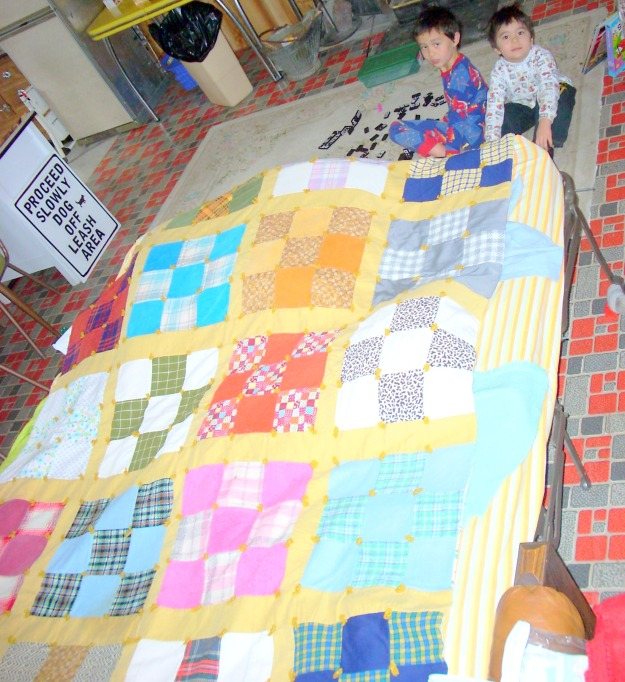 bright 9-patch quilt