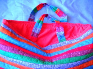 striped bag inside